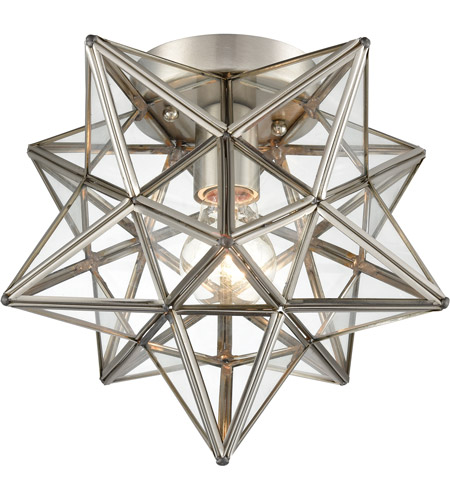 Moravian Star 1 Light 10 Inch Antique Nickel Flush Mount Ceiling Light