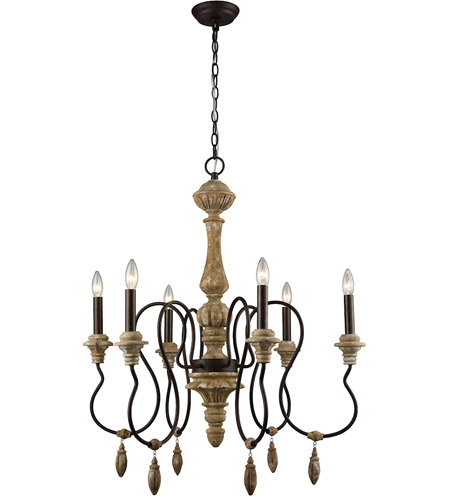 Dimond Lighting 1202-001 Salon de Provence 6 Light 29 inch Aged Iron/Natural Wood Tone Chandelier Ceiling Light photo