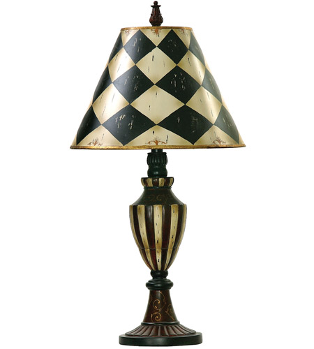 Dimond Lighting Harlequin And Stripe Urn 1 Light Table Lamp in Black / Antique White 91-342 photo