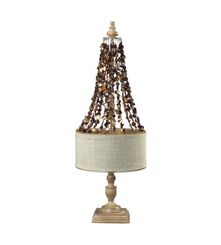Dimond Lighting Rockyford 2 Light Table Lamp in Bleached Wood W/ Dark Shell 93-9251 photo