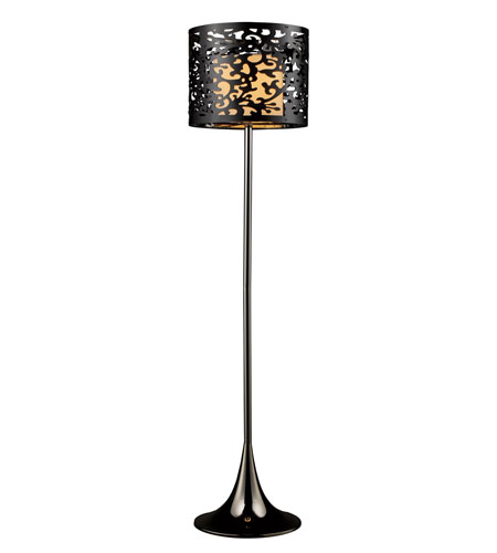 Dimond Colima Floor Lamp in Black Nickel with Black Laser Cut Acrylic Outer Shade and Cream Shantung Inner Shade D1708 photo