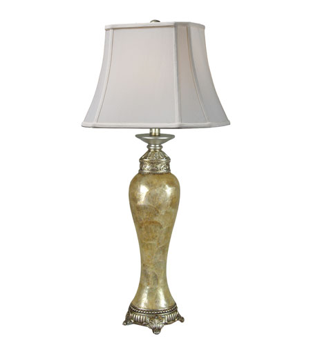 Dimond Bay View Table Lamp in Capiz Shell and Silver Leaf with Cream Shantung Shade and Cream Liner D1723 photo