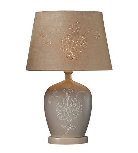 Dimond Piquette Table Lamp in Sand with Oval Sand Faux Suede Shade with Laser Cut Detail D1764 photo