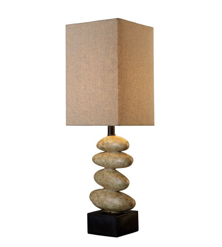 Dimond River Rock Table Lamp In Stone With Sandstone Linen Shade D1771