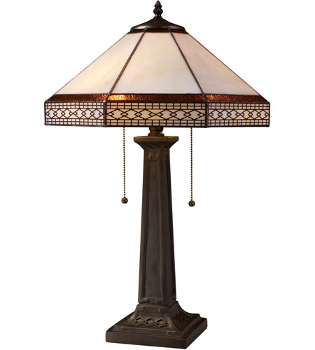 Dimond Lighting D1858 Stone Filigree 24 inch 60 watt Tiffany Bronze Table Lamp Portable Light photo