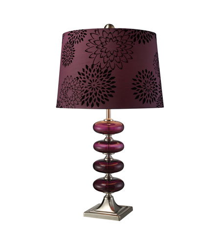 Dimond Vidrio 1 Light Table Lamp in Brushed Steel and Plum Blown Glass D1880 photo