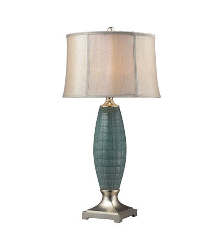 Dimond Cumberland 1 Light Table Lamp in Turquoise Glaze / Silver Leaf D2272 photo