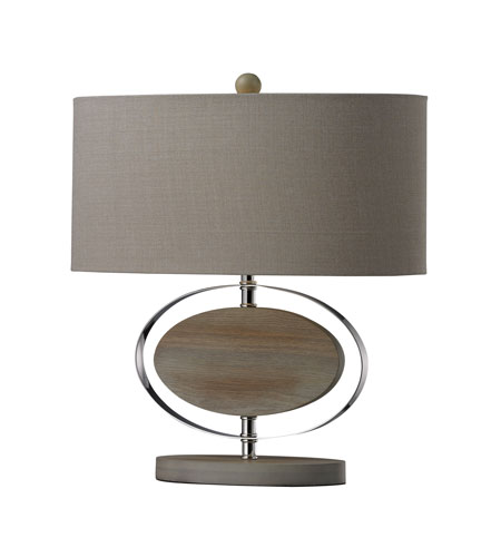 Dimond Lighting D2296 Hereford 19 inch 100 watt Bleached Wood With Chrom Finish Table Lamp Portable Light in Incandescent photo
