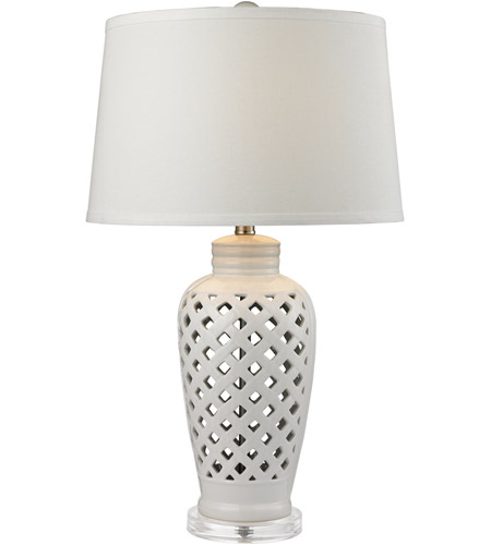 Dimond Lighting D2621 Openwork 27 inch 150 watt White Table Lamp Portable Light in Incandescent, 3-Way photo
