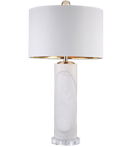 Dimond Lighting D2752 Signature 28 Inch 100 Watt Gloss White And Gold Table  Lamp Portable Light In Incandescent