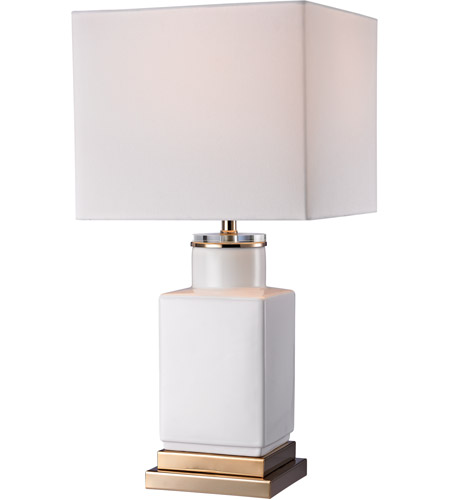 Dimond Lighting D2753 White Cube 21 Inch 100 Watt Gloss White And Gold  Table Lamp Portable Light In Incandescent