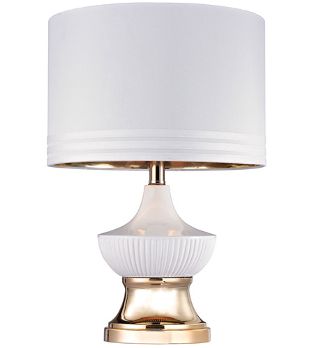 Dimond Lighting D2754 Ribbed Genie 18 Inch 100 Watt Gloss White And Gold  Table Lamp Portable Light In Incandescent