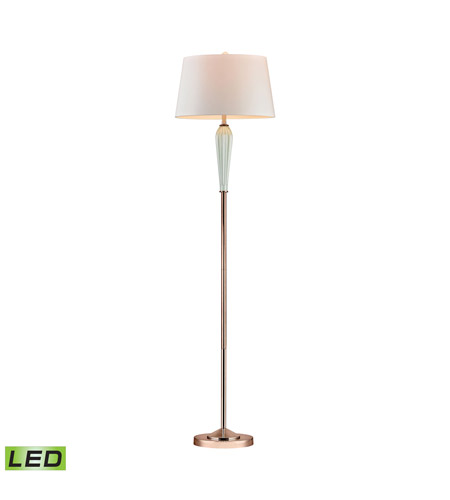 wholesale dealer 28e46 20494 Dimond Lighting Ribbed 1 Light LED Floor Lamp in Mint and Gold with Oyster  Faux Silk Shade D2762-LED