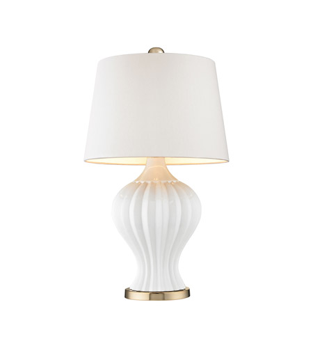 Dimond Lighting D2945 Tess 27 inch 100 watt White & Gold Table Lamp  Portable Light - Dimond Lighting D2945 Tess 27 Inch 100 Watt White & Gold Table