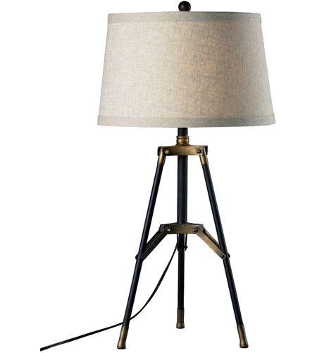Dimond Lighting D309 Functional Tripod 30 Inch 150 Watt Restoration Black  And Aged Gold Table Lamp Portable Light In Incandescent