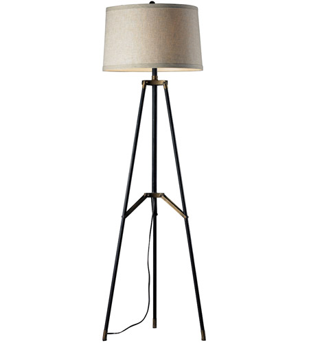 dimond lighting d310 functional tripod 54 inch 150 watt restoration black and aged gold floor lamp portable light in