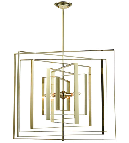 Dimond Lighting D3151 Synchrony 3 Light 30 inch Gold Plate Chandelier Ceiling Light, Square photo
