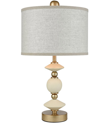 Briar Rose 21 Inch 60 Watt Antique Gold Finish White Table Lamp Portable Light