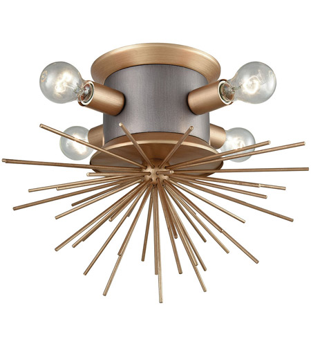 Dimond Lighting D3572 Lucy Spike 4 Light 19 inch Weathered Zinc and Antique Gold Flush Mount Ceiling Light photo