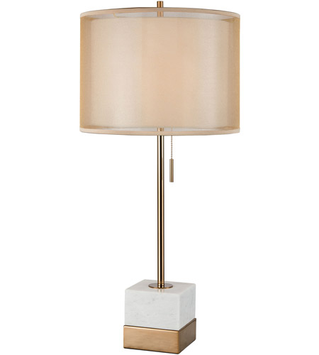 Dimond Lighting D3902 Marmalade 30 Inch 100 Watt White Marble With Brushed Gold  Table Lamp Portable Light