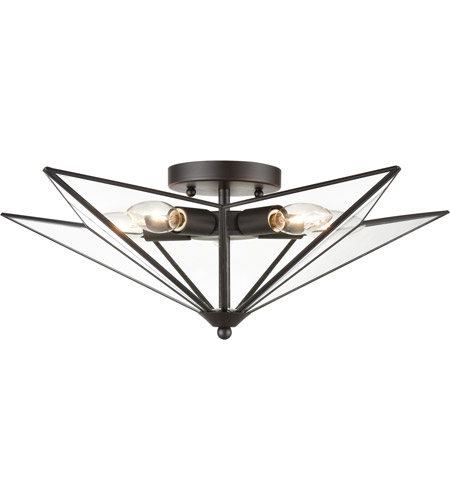 Dimond Lighting D4386 Moravian Star 5 Light 21 Inch Oil Rubbed Bronze Clear Flush Mount Ceiling Light Large