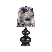 Silverdale 28 inch 150 watt Grey Glass And Black Nickle Table Lamp Portable Light