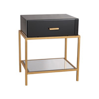 Dimond Home Evans Side Table in Black Glass and Gold Leaf 1114-166