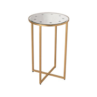 Lazy Susan by Dimond Lighting Cross Base Mirror Top Side Table in Antique Gold 1114-168