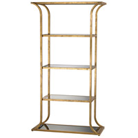 Dimond Lighting Petronas Bookshelf in Antique Gold Leaf,Black Glass 1114-222