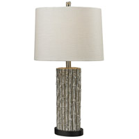 Bamboo 27 inch 100 watt Silver Leaf Table Lamp Portable Light, Oval