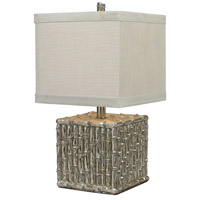 Bamboo 22 inch 100 watt Silver Leaf Table Lamp Portable Light, Square