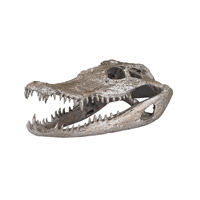 Lazy Susan by Dimond Signature Crocodile Skull in Silver Leaf 112162