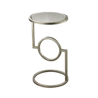 Lazy Susan by Dimond Lighting Top Hurricane Side Accent Table in Antique Silver and Mirror Metal and Marble 114-107