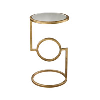Dimond Home Top Hurricane Side Accent Table in Antique Gold Leaf and Mirror Metal and Marble 114-108