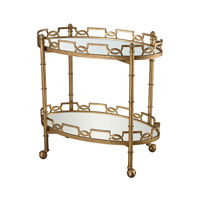 Curvilinear Two Tier Tray Table 32 X 18 inch Antique Gold Leaf and Antique Mirror Bar Cart Home Decor