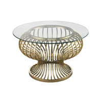 Lazy Susan by Dimond Lighting Undulating Gold Rod Accent Table in Gold Plated Metal and Glass 114-137