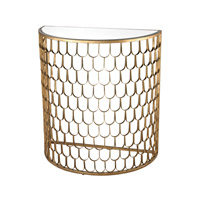 Lazy Susan by Dimond Lighting Fish Scale Demi Lune Console in Antique Gold Leaf and Antique Mirror Metal and Glass 114-138