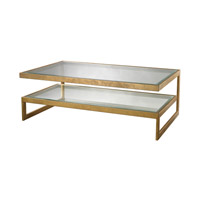 Lazy Susan by Dimond Lighting Key Coffee Table in Antique Gold Leaf Metal and Glass 114-143