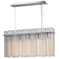 Fringe 5 Light 34 inch Polished Stainless Steel & Polished Nickel Chandelier Ceiling Light