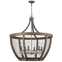Renaissance Invention 6 Light 30 inch Weathered Zinc Basket Pendant Ceiling Light, Wide