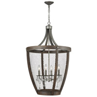 Renaissance Invention 4 Light 23 inch Weathered Zinc Basket Pendant Ceiling Light, Long