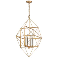 Dimond Connexions 4 Light Pendant in Antique Gold Leaf & Silver Leaf 1141-005