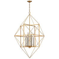 Dimond Connexions 8 Light Pendant in Antique Gold Leaf & Silver Leaf 1141-006