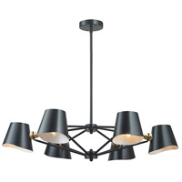 Webre 6 Light 34 inch Matte Black & Gold Leaf Chandelier Ceiling Light