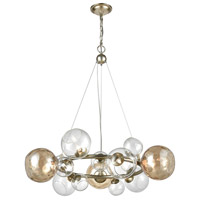 Bubbles 9 Light 32 inch Silver Leaf and Champagne Chandelier Ceiling Light