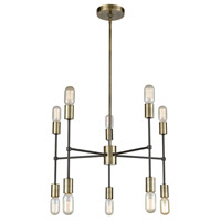 Up Down Century 10 Light 24 inch Antique Brass and Oil Rubbed Bronze Chandelier Ceiling Light