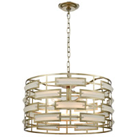 Metro 5 Light 22 inch Silver Leaf and Acid Crystal Pendant Ceiling Light