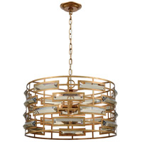 Metro 5 Light 22 inch Gold Leaf and Clear Crystal Pendant Ceiling Light