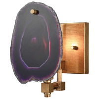 Gallery 1 Light 6 inch Gold Leaf Wall Sconce Wall Light, Purple Agate