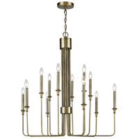 Dimond Lighting 1141-037 Edward 12 Light 36 inch Antique Brass and Oil Rubbed Bronze Chandelier Ceiling Light